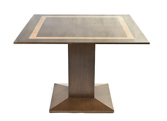 * A Contemporary Pedestal Table, Height 30 1/4 x width 42 x depth 42 inches.
