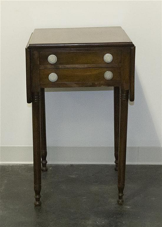 * An American Cherry Work Table, Height 30 x width 18 1/2 x depth 20 1/2 inches.