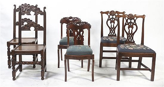 A Group of Six Victorian Chairs, Height of tallest 41 1/2 inches.