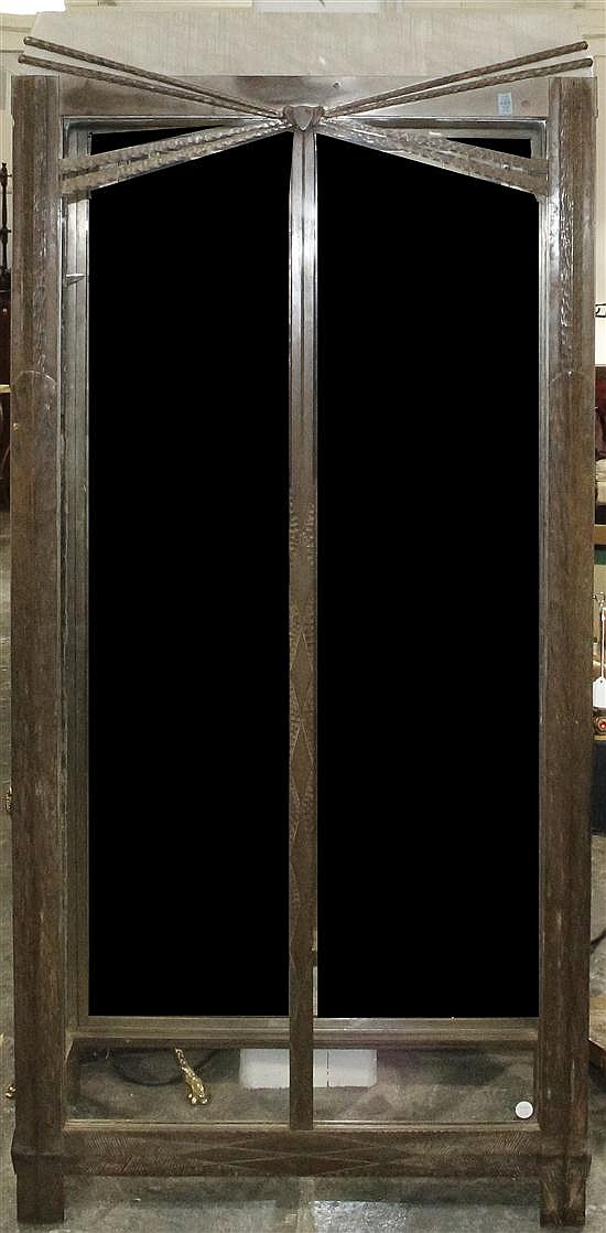 * An Art Deco Style Steel Vitrine Cabinet, in the manner of Oscar Bach, Height 70 x width 33 x depth 14 inches.