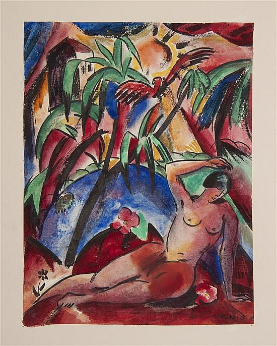 Josef Eberz, (German, 1880-1942), Reclining Nude in Jungle, 1918