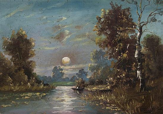 Jakov Ivanovich Brovar, (Russian, 1864-1941), Moonlit Landscape, 1891