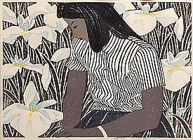 Hashimoto Okiie, (Japanese, 1899-1993), Irises, 1955