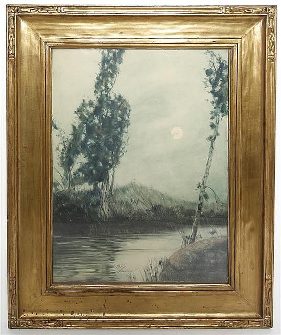 George Eyster Senseney, (American, 1874-1943), Moon and Trees