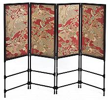 * A Late Victorian Four-Panel Floor Screen, Height 49 x width 16 inches (each).