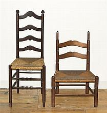 Two American Ladder Back Side Chairs, Height of taller 39 inches.
