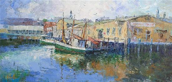 Rufino Ceballos, (Spanish, 1907-1970), Boats in Port