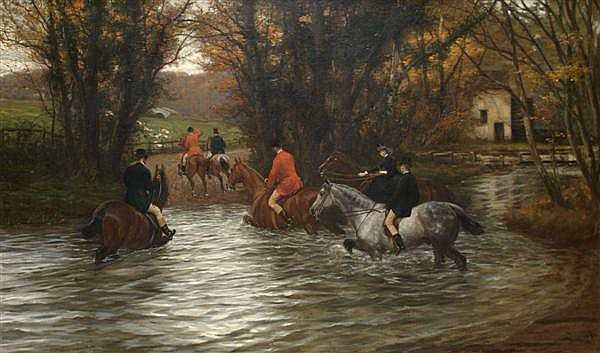 Philip Richard Morris, (British, 1836-1902), Crossing the River