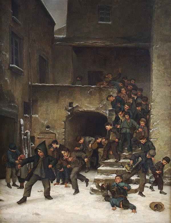 Pierre Edouard Frere, (French, 1819-1886), Boys Going out of School