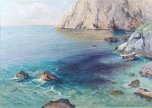 Guido Odierna, (Italian, 1913-1991), Fishing Boats off Capri