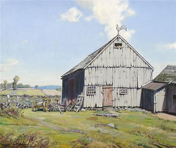 Robert Strong Woodward, (American, 1885-1957), Passing a Barn at Noon