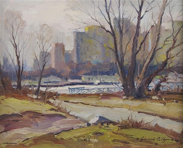 Gianni Gilfone, (American, 1908-1990), Chicago Skyline from Belmont Harbor