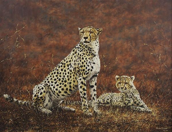 Simon Combes, (Kenyan, b. 1940), Two Cheetahs