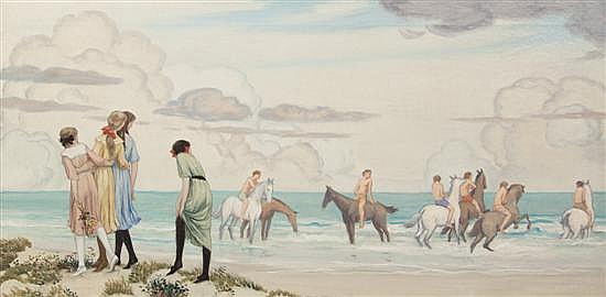 *Bryson Burroughs, (American, 1869-1934), Girls and Horses on Beach, 1912