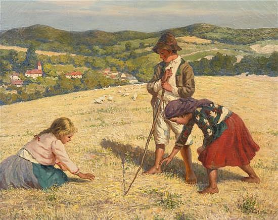Oszkar Glatz, (Hungarian, 1872-1958), Children on a Hilltop