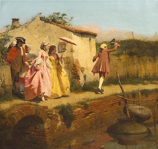 Antonio Rotta, (Italian, 1828-1903), Catching Butterflies