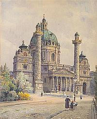 Ernst Graner, (Austrian, 1865-1943), Karlskirche, Wien