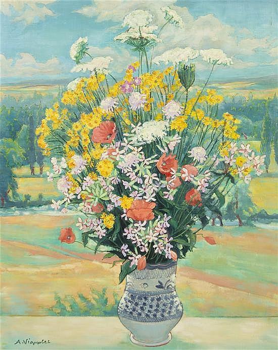 Andre Vignoles, (French, b. 1920), Bouquet Devant la Vallee de l'Eure