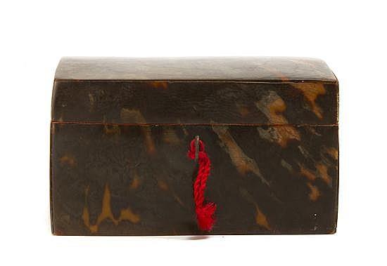 A Regency Tortoise Shell Veneered Box, Height 4 1/4 x width 7 x depth 5 inches.
