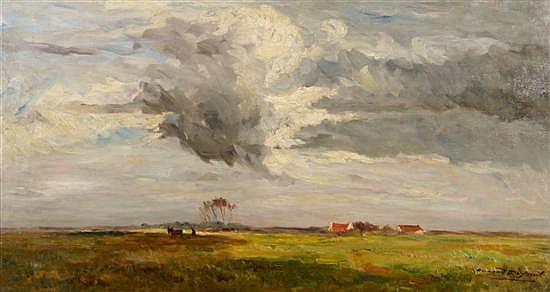 Armand de Beul, (Belgian, 1874-1953), Lanscape with Farm