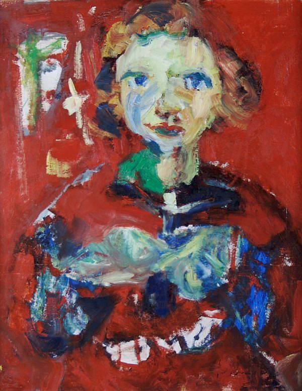 Bernard Damiano, (Italian, 1927-2000), Tete d''Enfant Fond Rouge