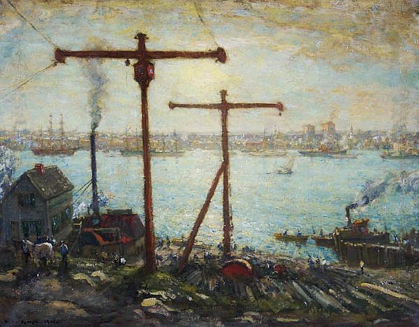Henry Ward Ranger, (American, 1858-1916), New London from the Groton Shipyard