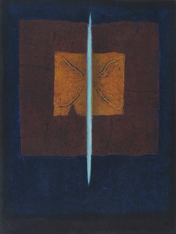 Hiroyuki Tajima, (Japanese, 1911-1984), A Group of four prints, comprising The Crack, Impression of Shrine, Jinae and Green Reco