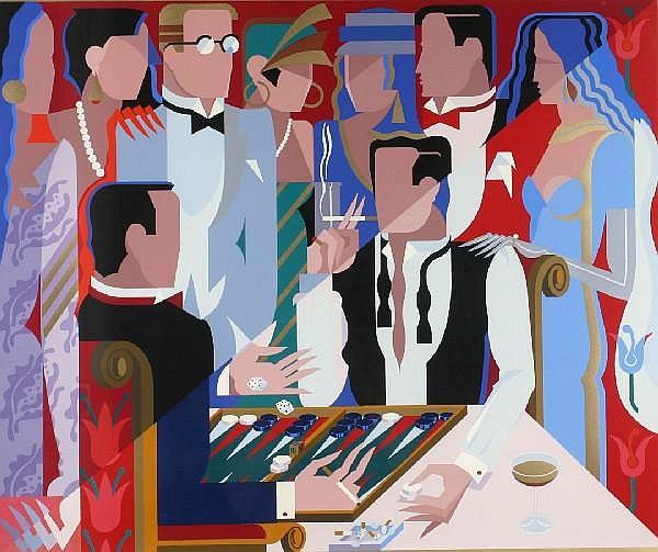 Giancarlo Impiglia, (American, b. 1940), Backgammon Players, 1988