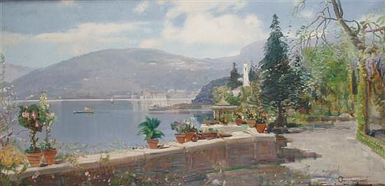 Ottorino Campagnari, (Italian, 1910-1987), Lago a Como