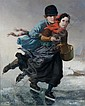 Henri van Seben, (Belgian, 1825-1913), Ice Skating Couple, Henri