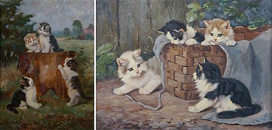 Benno Kogl, (German, 1892-1969), A Pair of Paintings depicting Kittens