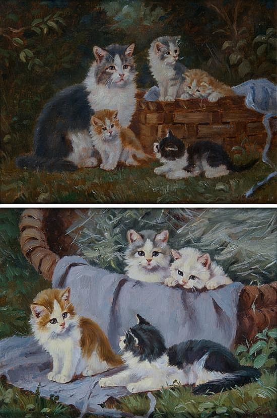 Benno Kogl, (German, 1892-1969), A Pair of Paintings depicting Kittens in a Basket