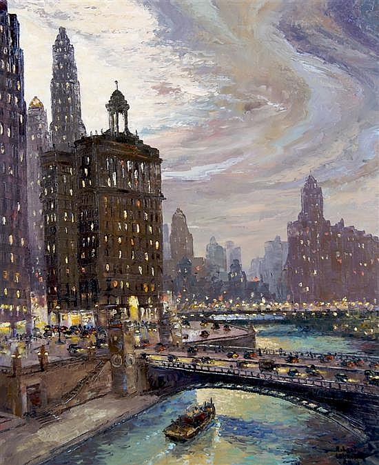 Robert Lebron, (American, b. 1928), Chicago River Scene