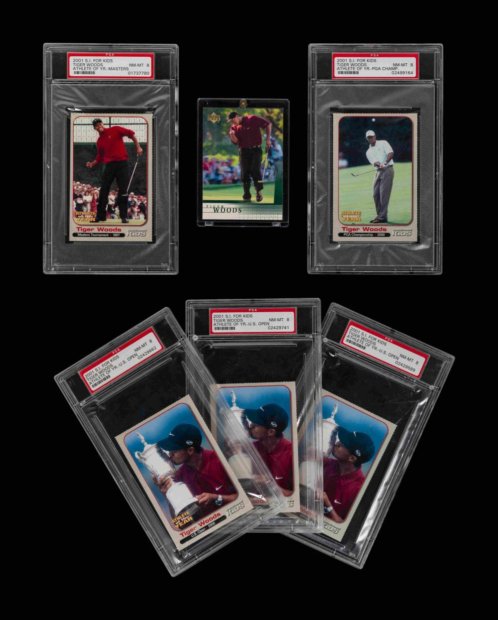 A Group of Six 2001 Tiger Woods Golf Cards