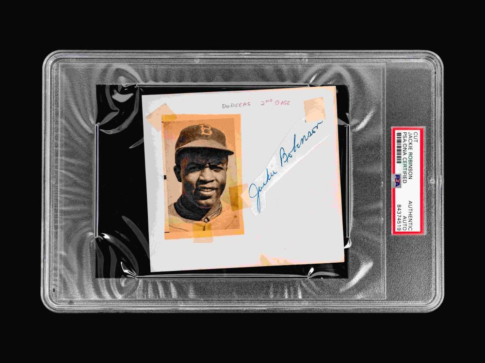 A Vintage Jackie Robinson Brooklyn Dodgers Signed Autograph (PSA Authentic Encapsulated),