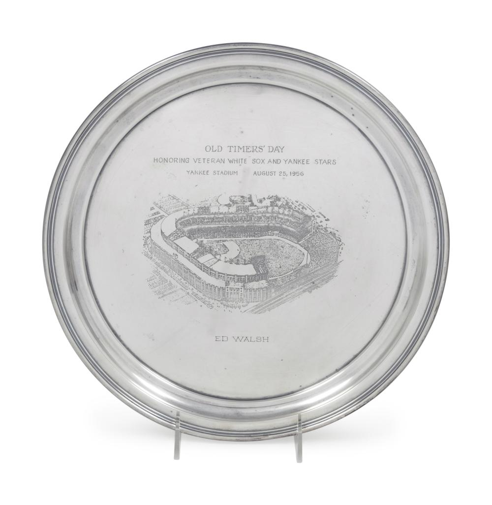 A 1956 Ed Walsh Yankee Stadium Old Timers Day Silver Tray Award