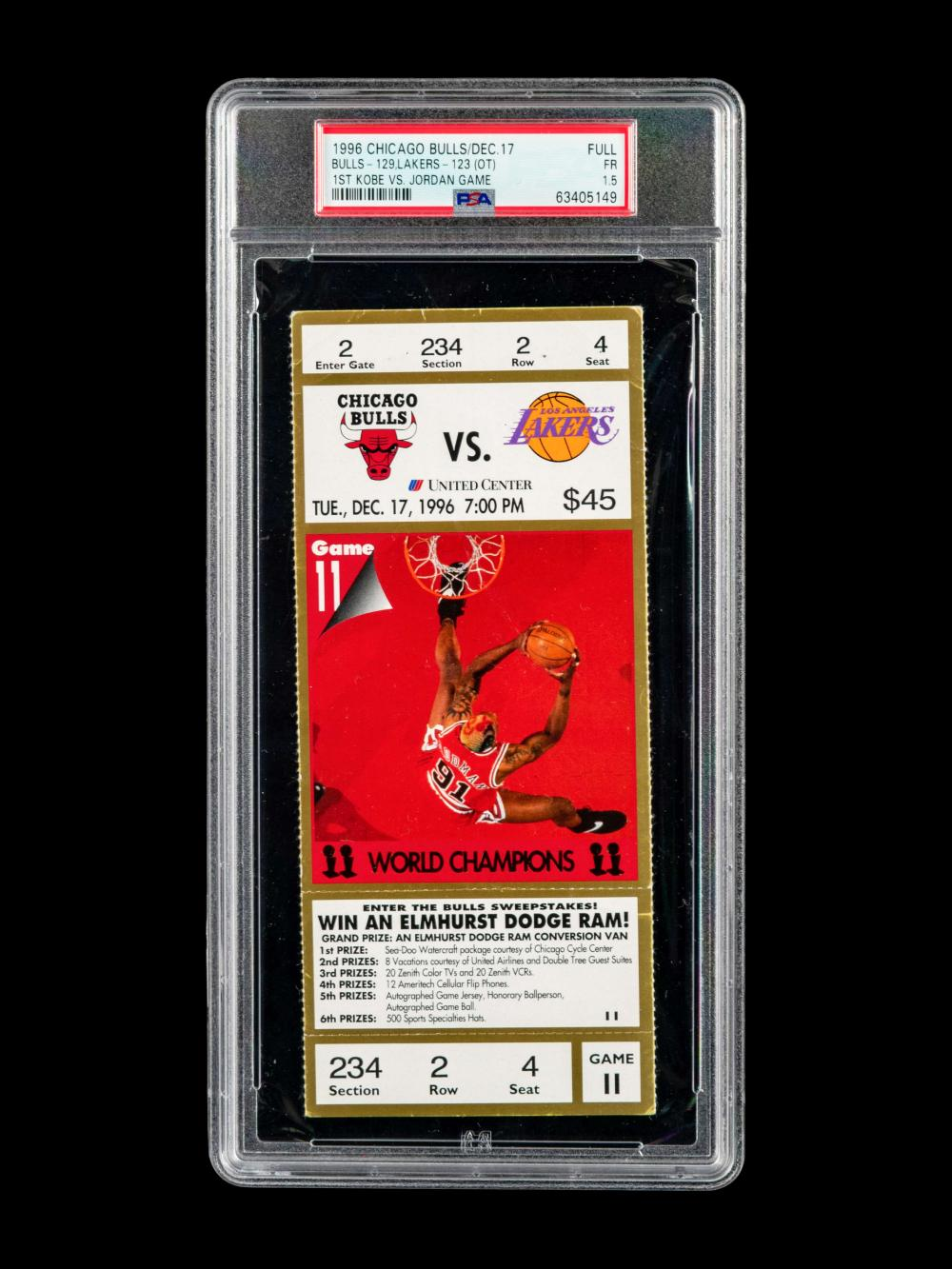An Exceptionally Rare December 17, 1996 Chicago Bulls vs. Los Angeles Lakers Full Ticket From The First Game Between Michael Jordan and Kobe Bryant (PSA Population of Four),