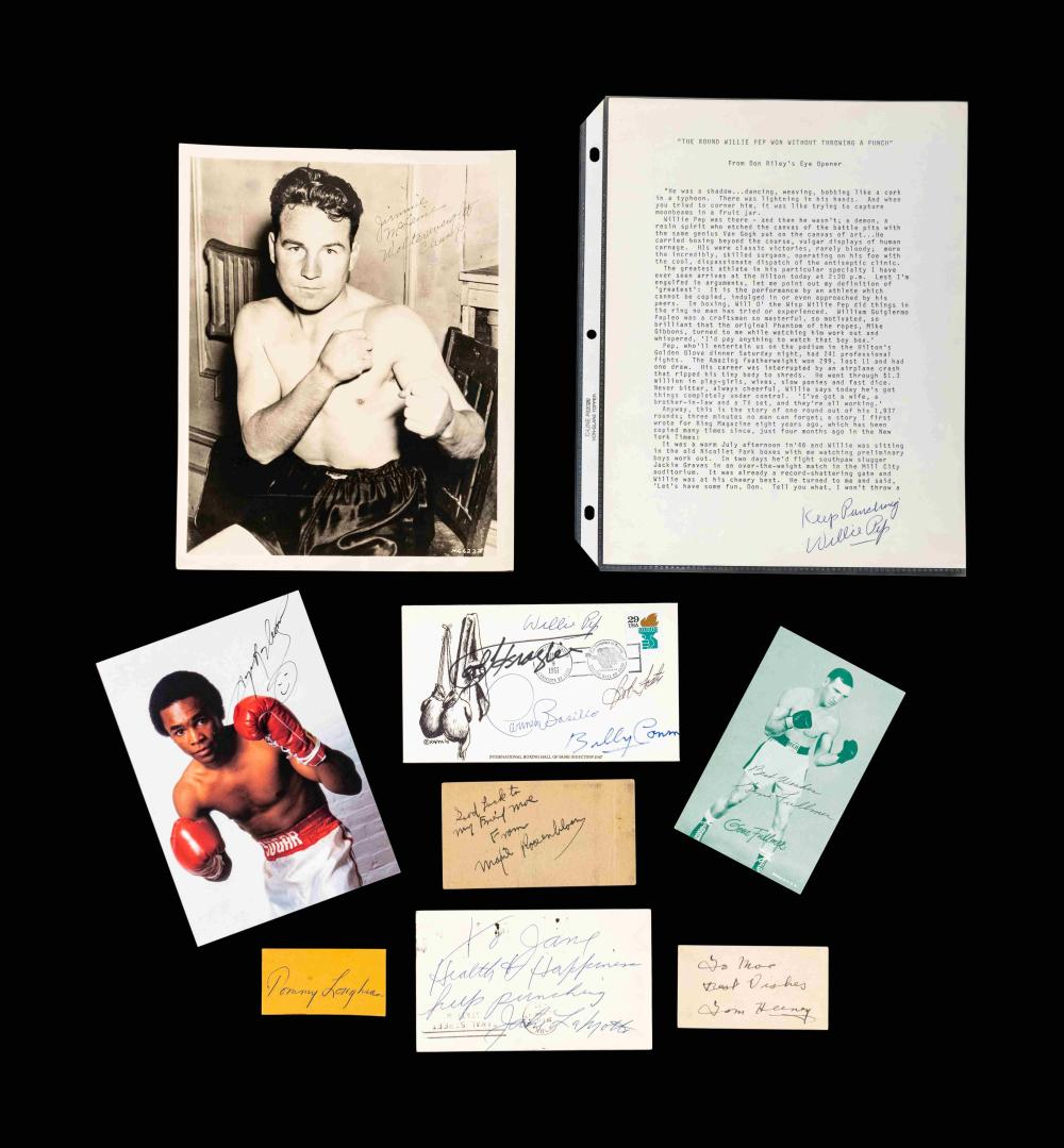 A Group of Assorted Boxing Champion Signed Autograph Items Including Sugar Ray Leonard,