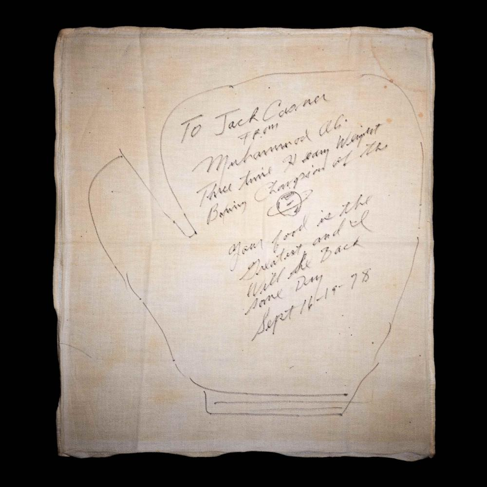 A Muhammad Ali Signed Autograph Drawing of a Boxing Glove Gifted to New Orleans Restaurant The Day After Second Leon Spinks Fight In 1978,