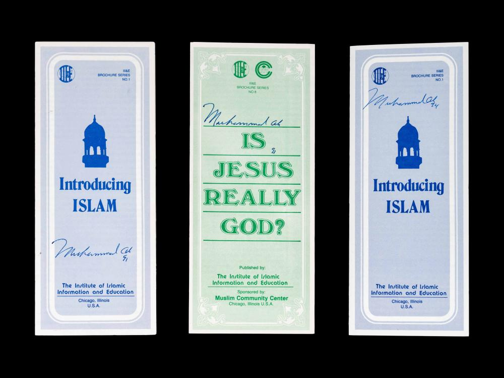 A Group of Three Muhammad Ali Signed Autograph Islamic Pamphlets,