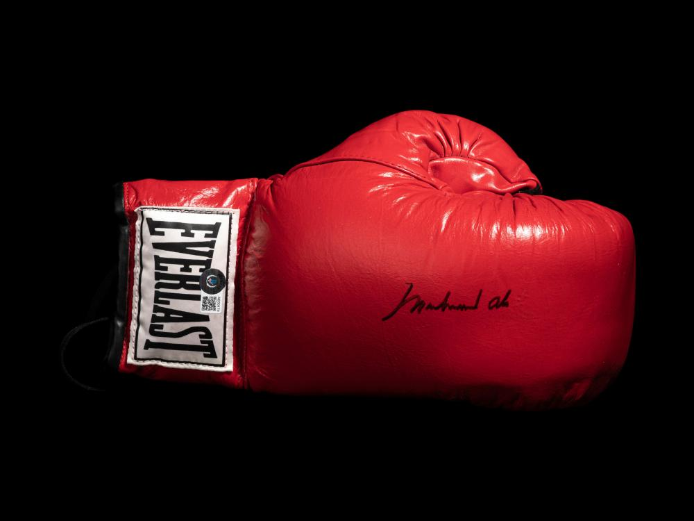A Muhammad Ali Signed Autographed Everlast Boxing Glove (Right) Sourced Directly from Ali's G.O.A.T. Agency (BAS Beckett Authentication Services Certified),