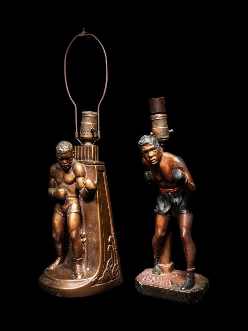 A Group of Two Vintage Joe Louis Figural Lamps,