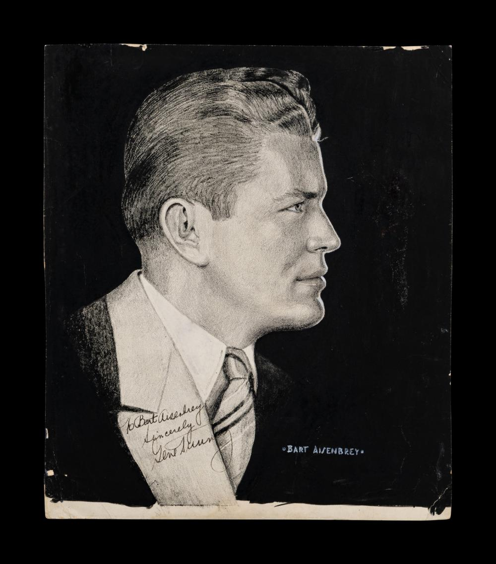 An Original Pen Drawing Signed by Heavyweight Boxing Champion Gene Tunney,