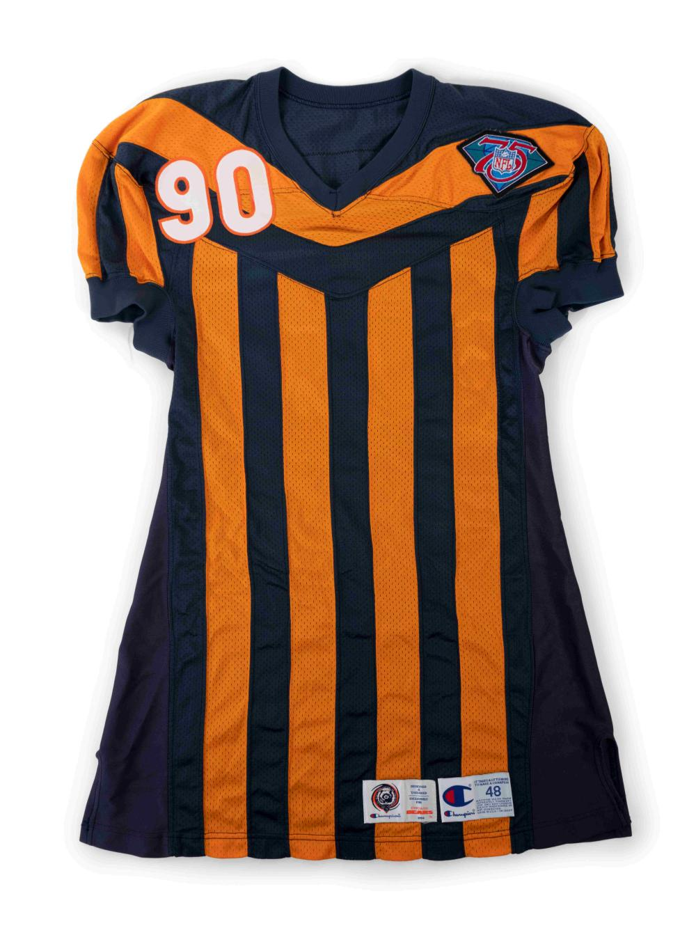 An Alonzo Spellman 1994 Chicago Bears Game Issued NFL 75th Anniversary  Throwback Football Jersey,