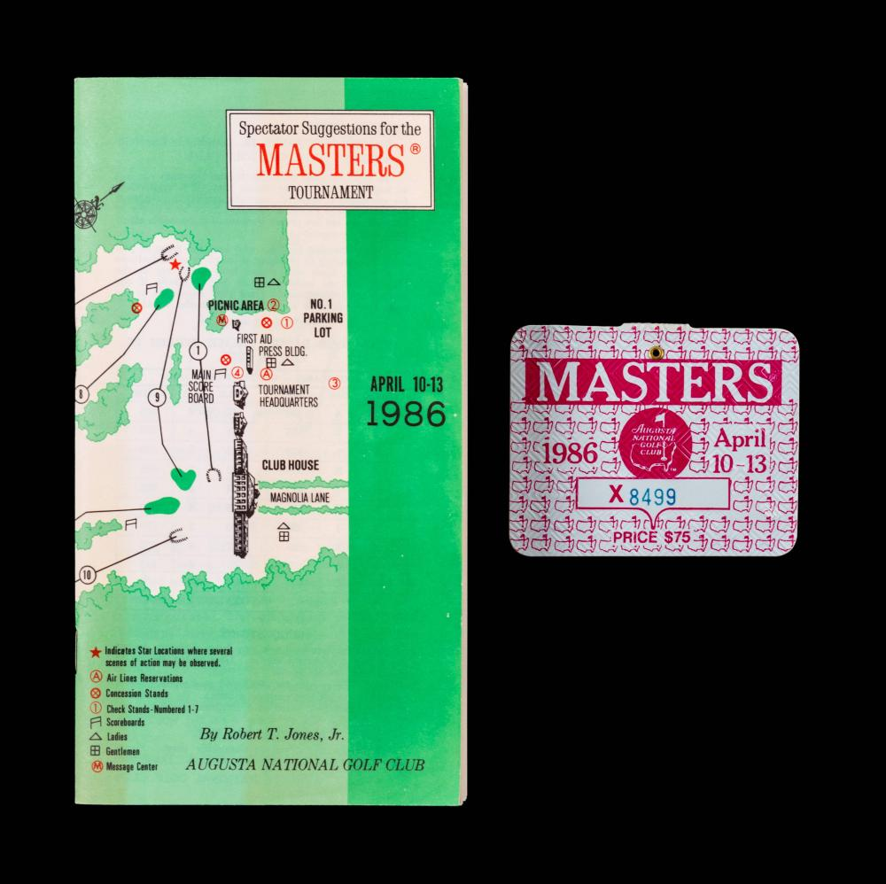A Group of Jack Nicklaus 1986 Masters Golf Tournament Augusta National Items (Including Badge),
