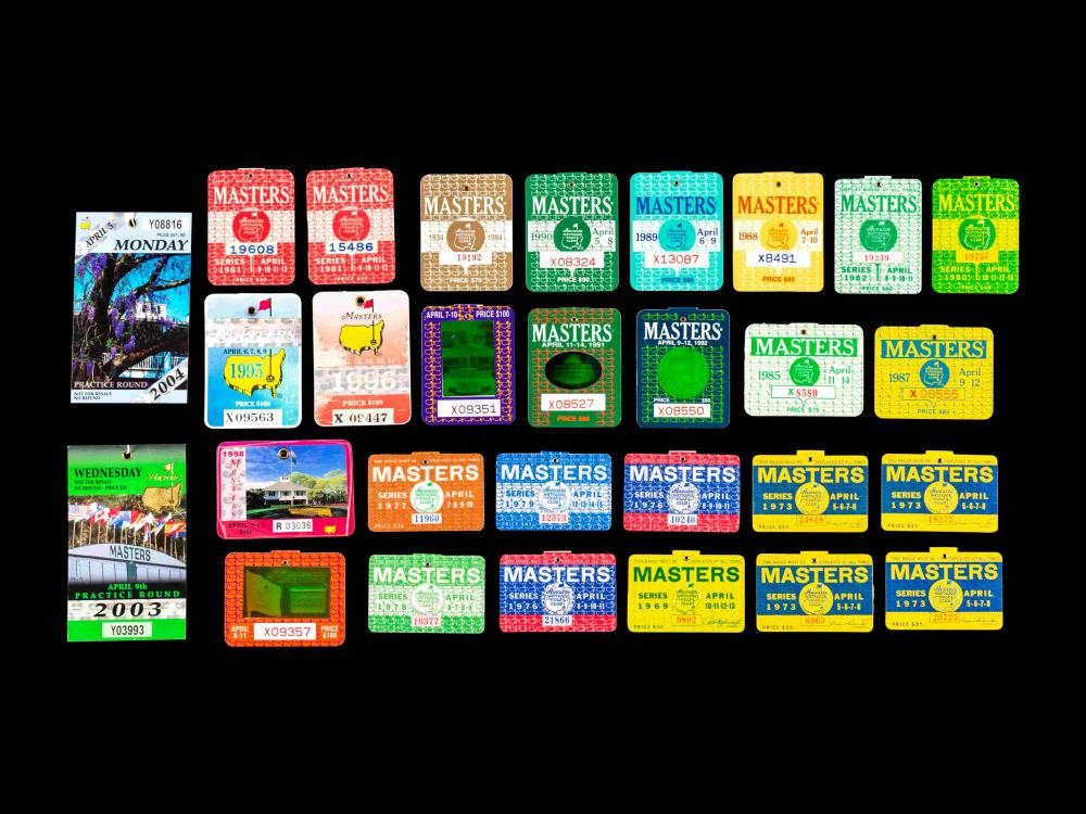 A Group of 29 1960s-2000s Masters Golf Tournament Augusta National Badges Including Tiger Woods' First Appearance
