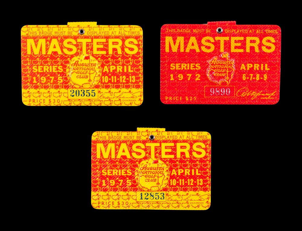 A Group of Three Jack Nicklaus Masters Golf Tournament Augusta National Badges,