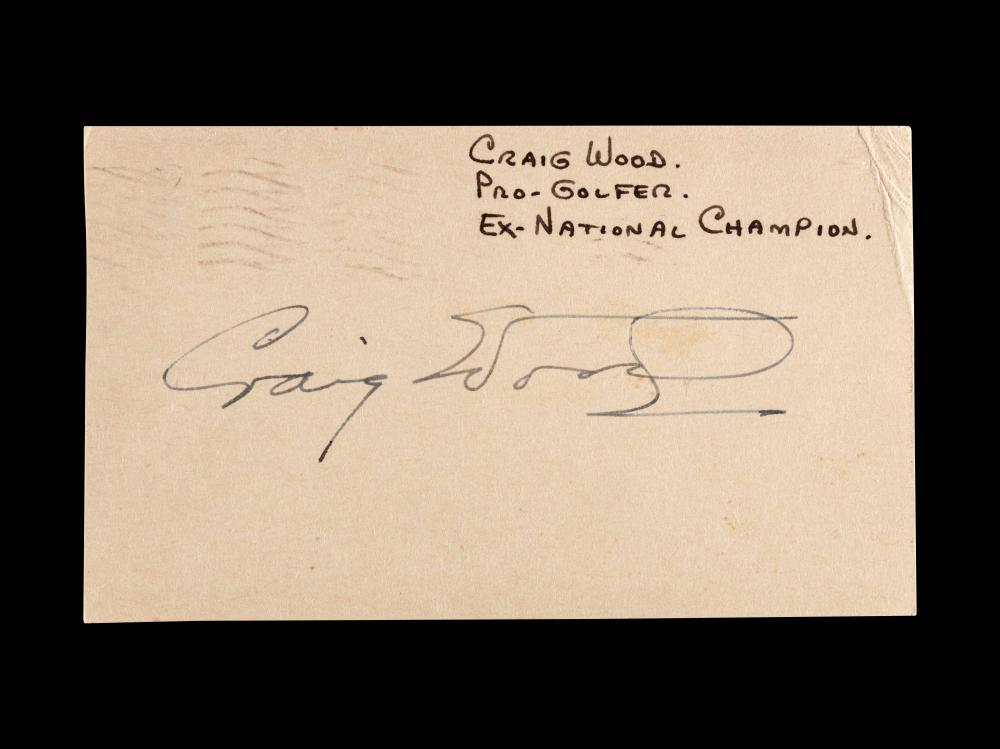 An Uncommon Signed Autograph Index Card by 1941 Masters Champion Craig Wood,