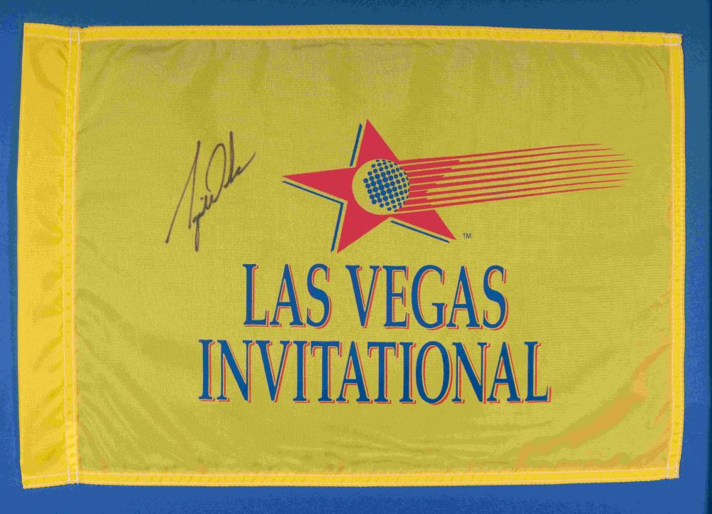 A Historically Significant Tiger Woods Signed Autograph 1996 Las Vegas Invitational Tournament Flown Golf Flag From Woods' First PGA Tour Victory (Tournament Director Letter, PSA Authentic),