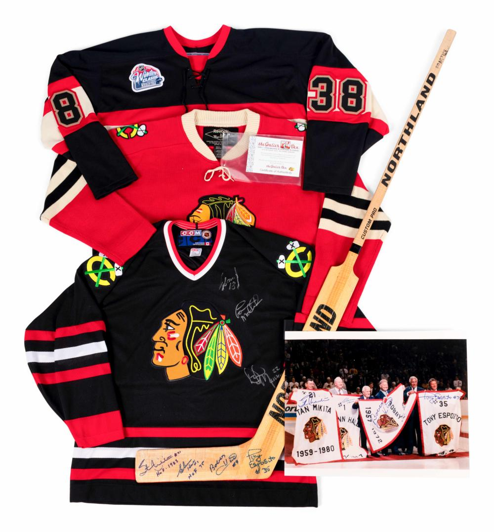 A Group of Chicago Blackhawks Signed Autograph Items (Including Bobby Hull, Stan Mikita and Tony Esposito),